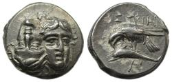 Ancient Coins - Istros AR Stater : Sea-Eagle on Dolphin