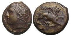 Ancient Coins - Syracuse Sicily under Agathokles, Ae Litra : Herakles / Lion