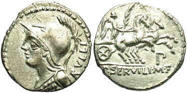 Ancient Coins - P. Servilius M.f. Rullus. AR denarius,  c100BC,  Extremely fine.