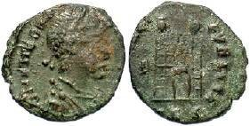 Ancient Coins - Theodosius AD  379-395 AE4 Campgate