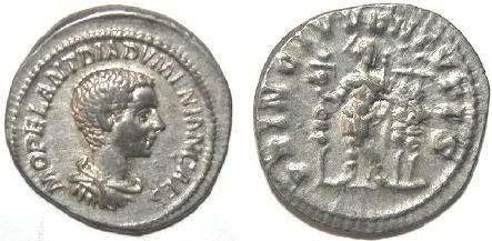 Ancient Coins - Diademenian AD 218, AR Denarius