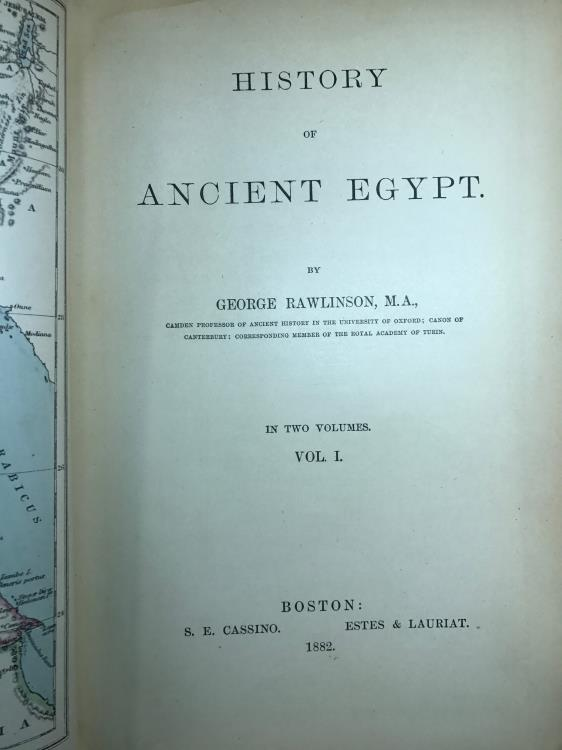 Ancient Coins - History of Ancient Egypt in 2 volumes by Professor Rawlinson 1st Edition