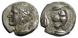 Ancient Coins - Leontini Sicily AR Tetradrachm : Head of Apollo / Roaring Head of Lion left