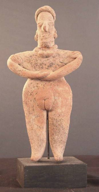 Ancient Coins - Large Female Colima figure on custom stand