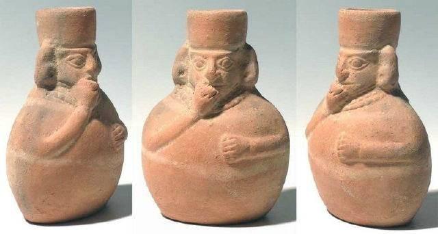 Ancient Coins - Moche figural flask, Peru, AD 50-800