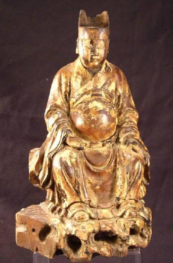 Ancient Coins - Carved Wood Figure of an Officer, Early 1400's Ming Dynasty, China