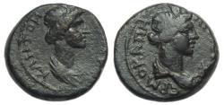 Ancient Coins - Hermocapelia Lydia Ae : Bust of Senate / Bust of Roma : Scarce Type