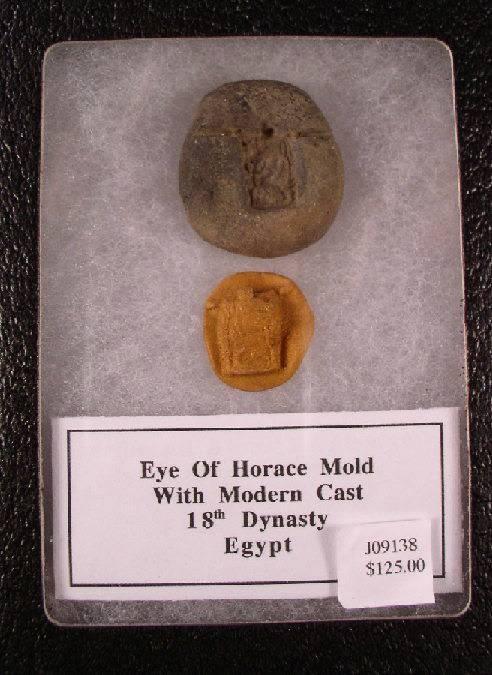 Ancient Coins - Egyptian clay mold of an eye of Horus, 18th Dynasty