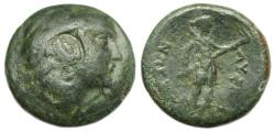 Ancient Coins - Lysimacheia Thrace Ae : Head of Herakles / Demeter Holding Long Torch : Scarce Type