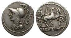 Ancient Coins - Roman Republic AR Denarius : P. Servilius M. f. Rullius : Victory Driving Biga