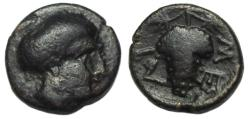 Ancient Coins - Meliboeia Thessaly Ae Chalkous : Head of Nymph Meliboeia / Grape Bunch