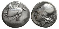 Ancient Coins - Corinth Corinthia AR Stater : Pegasos / Athena and Hermes