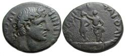 Ancient Coins - Augustus Ae : Philippi Macedon : Statue of Augustus crowned by Statue of Divus Julius