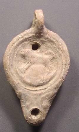 Ancient Coins - Oil Lamp, Roman Era Terracotta, Lion Design