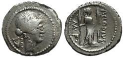 Ancient Coins - P. CLODIUS M.F. TURRINUS :  AR Denarius : Diana with Bow, Quiver and Torch
