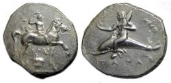Ancient Coins - Calabria Tarentum AR Stater : Rider on Horseback / Boy on Dolphin
