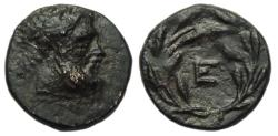 Ancient Coins - Epidauros Argolis Ae Chalkous : Head of Asklepios / Large E in wreath