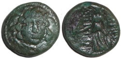 Ancient Coins - Amphipolis Macedonia : Gorgon Head / Athena Standing