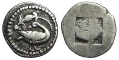 Ancient Coins - Eion Macedonia AR Diobol : Goose and Lizard