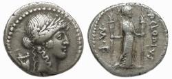 Ancient Coins - Roman Republic AR Denarius : P Clodius M.f. Turrinus
