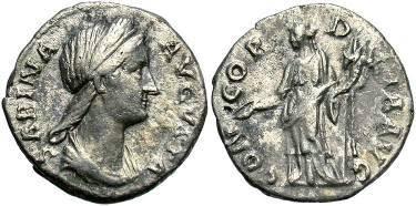 Ancient Coins - Sabina, wife of Hadrian, AR Denarius