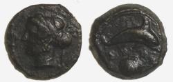 Ancient Coins - Sicily, Syracuse AE Hemilitron, c 405-400BC