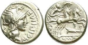 Ancient Coins - M. Cipius M.f., ca. 115-114 BC.   AR denarius