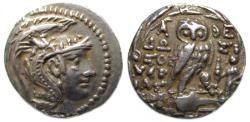 Ancient Coins - Athens Attica AR Tetradrachm : Athena / Owl and Tyche