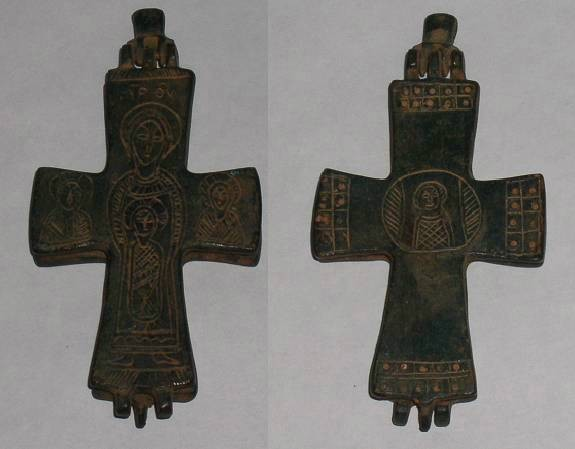 Ancient Coins - Large Byzantine Bronze Reliquary Cross