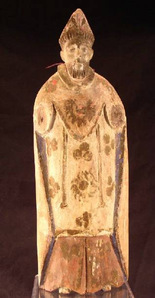 Ancient Coins - Wooden Santos figure of a saint, early 1800's