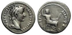 """Ancient Coins - Tiberius AR Denarius : PONTIF MAXIM : """"Tribute Penny"""""""