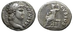 Ancient Coins - Nero AR Denarius : IVVPITER CVSTOS ; Jupiter Seated