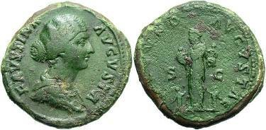 Ancient Coins - Faustina Jr: Wife of Marcus Aurelius, Died 175 AD.  Sestertius