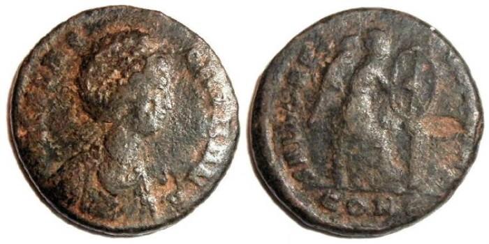 Ancient Coins - Aelia Flacilla AE2 : Victory Inscribing Cristogram