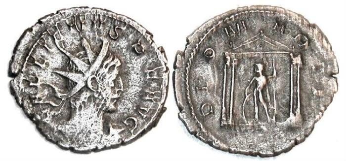 Ancient Coins - Gallienus silver antoninianus : DEO MARTI