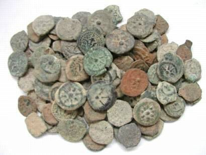 Ancient Coins - Widow's Mite, Alexander Jannaeus and successors 103-40 BC, AE Lepton