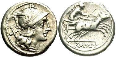 Ancient Coins - Anonymous. Ca. 157-156 BC. AR denarius