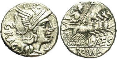 Ancient Coins - L. Antestius Gragulus. AR Denarius, 136 BC.