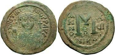 Ancient Coins - Justinian I AD 527-565 Large AE Follis