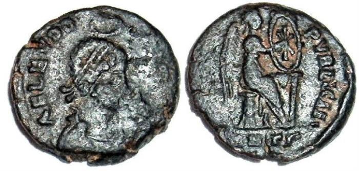 Ancient Coins - Eudoxia : Victory Inscribing Christogram