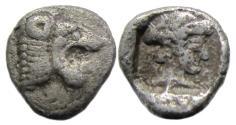 Ancient Coins - Knidos Caria AR Trihemiobol : Head of Lion / Head of Aphrodite