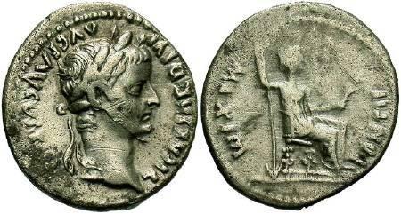 Ancient Coins - Tiberius AD 14-37, AR Denarius  (Tribute Penny Type)