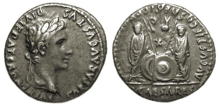 Ancient Coins - Augustus AR Denarius : Gaius and Lucius Caesar Standing Facing with Shields and Scepters