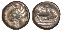 Ancient Coins - Lucania, Thourioi (Thurium) AR Stater. 4th Century BC
