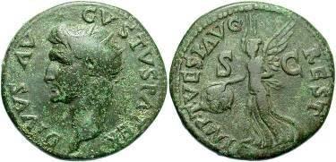 Ancient Coins - AUGUSTUS - AE dupondius, restoration issue by Titus.