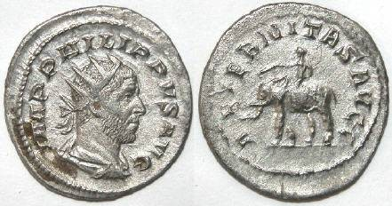 Ancient Coins - PHILIP I  AD 247-249, AR Antoninianus, Elephant Reverse