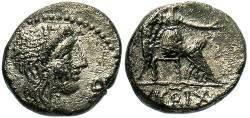 Ancient Coins - M Porcius Cato . 89 BC . AR Quinarius.