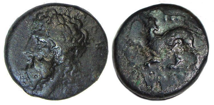 Ancient Coins - Syracuse Sicily Ae Tetras : Timoleon : Asklepios / Barking Dog