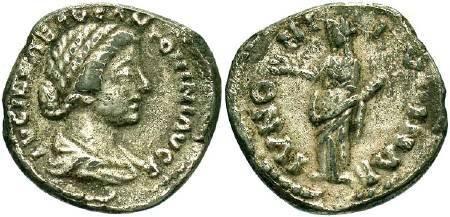 Ancient Coins - Lucilla wife of Lucius Verus, AR Denarius (foree)