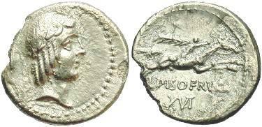 Ancient Coins -  L. Calpurnius L.f. L.n. Piso Frugi. AR denarius. ca. 90 BC.